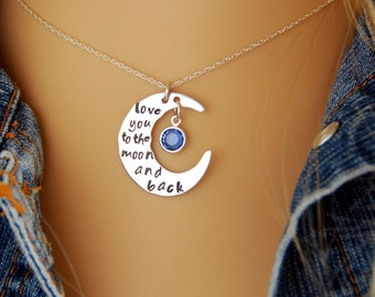 I Love You to the Moon Necklace, I Love You to the Moon and Back, Sterling Silver, Moon and Birthstone Charm Necklace, Personalized