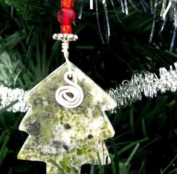 Celtic Connemara Marble Ornament. Irish Mini Tree with Spiral