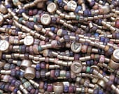 Matte Opaque Aged Striped Picasso Seed Bead Mix with 3x2mm Matte Gold Zots and 6mm Matte Gold A Czech Glass Beads - 20 Inch Strand (AW296)