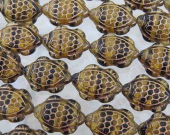 17x13mm 2 Tone Transparent Amber and Black Tiger Stripe with Gold Wash Czech Glass Sea Turtle Beads - Qty 5 (BS87)