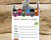 Superhero Friends Party Collection - Set of 8 Superhero Invitations by The Birthday House
