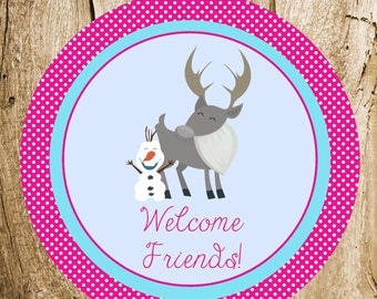 Snow Princess & Friends Party - Custom Frozen Party Sign by The Birthday House