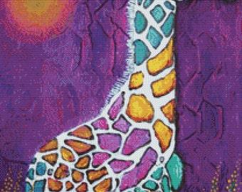 Modern Cross Stitch Kit - Giraffe of Many Colors  by Laura Barbosa
