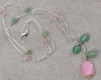 Pink Opal Necklace. Sterling Silver Necklace. SPRING TULIP. Peruvian Opal Gemstone Pink and Green Necklace. Handmade Jewelry.