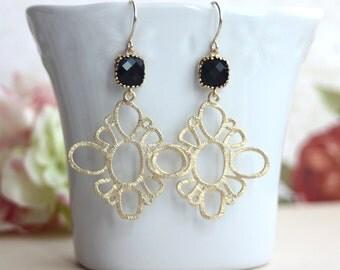 A Gold Plated Filigree Chandelier Dangle, Jet Black Glass Framed Dangle Earrings. Wedding Jewelry. Bridesmaids Jewelry, Bridesmaid Earrings