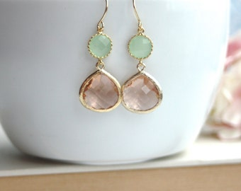 Champagne Peach, Light Mint Green Glass Framed Jewel French Drop Earrings. Bridesmaid Gifts. Modern Everyday. Maid Of Honor. Mint Wedding