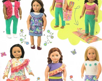 "Dress Shirt Pants Yoga Mat Bag Skirt 18"" Tall Doll Clothing Simplicity 1513 American Sewing Pattern"