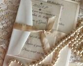 Romantic Vintage Elegant Linen and Faded Flowers Wedding Invitaiton Handmade SAMPLE by avintageobsession on etsy