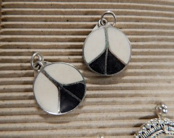 Vintage Bone and Horn Inlay Pendants Peace Sign x 2