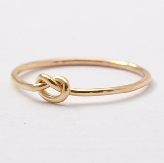 gold promise ring solid 14k yellow gold simple knot