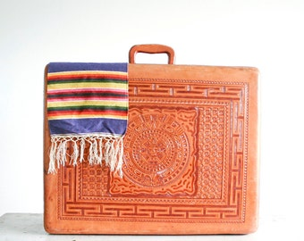 Vintage ARTMEX Hand Tooled Leather Suitcase / Leather Interior / Made in Mexico