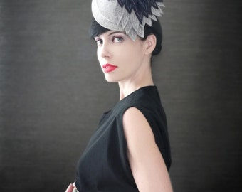 Grey Industrial Felt Fascinator With Navy Blue Black Felt Leaves - Cascade - Made to Order