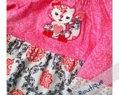 Valentines Pink Fox Girl Peasant Style Dress - Size 2T/3T - Valentines Dress - Toddler Dress