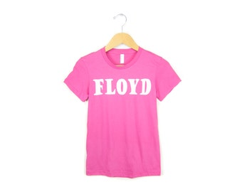 Pink Floyd Tee - Crew Neck Girly Fit Short Sleeve Cotton T-shirt in Pink - Women's Size S-2XL