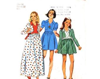 Girls Retro Dress Pattern Simplicity 6475 Mini or Maxi Dress Long Sleeves Teen Size 14 Vintage Sewing Pattern