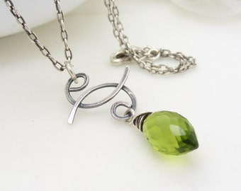 Spiral yin yang necklace, stering silver, olive green necklace, oxidized hammered silver, green quartz teardrop pendant