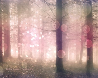 Nature Photography, Fantasy Sparkling Fairy Lights Trees, Pink Pastel Woodlands, Dreamy Fairytale Trees Nature, Baby Girl Nursery Decor Art