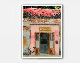 Valentine's Day gift Old Door Art PRINT / Watercolor / Bike bicycle painting cycling road trip / Old European building / Pink painting BD