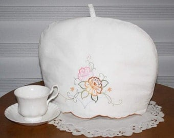 TEA COZY, Up-cycled Linens, Embroidered Flowers