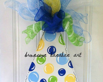 Happy Birthday Hat Door Hanger - Free Shipping - Bronwyn Hanahan Art