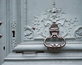 Paris  Photography - Detail of Blue Door with Ornate Knocker, French Home Decor, Large Wall Art