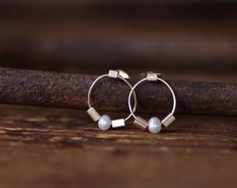 Pearl Hoop Earrings, Natural Pearl Post Drop Earrings, Mini Circle 14K Gold Earrings, June Birthstone, by Prairieoats