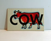 Vintage Flash Card COW Picture Card Nursery Decor Ephemera Yellow ME Word Flashcard