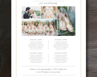 Photography Price List Template - Pricing Guide - Premade Branding Templates - Wedding Photographer Investment Design Template