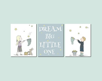 Chidren Art Prints -- Nursery Decor -- Dream Big Little One --  Girl and Boy Moon and Stars Art -- Set Of 3 Prints -- Kids Wall Art