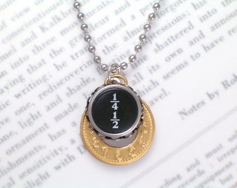 Typewriter Key Necklace With Fraction Key - Mixed Metals - Vintage Typewriter Jewelry By Haute Keys