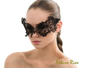 Black Vintage French Guipure Lace Mask, masquerade ball, Tyra Banks Mask, face mask, headpiece, Halloween mask,  venice lace Mask