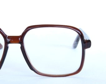Vintage Eyewear - Big Oversize Square RX Lens Dark Clear Brown Aviator Drop Arm Frames - Diamond Lite Reader Made in JAPAN Mid Century