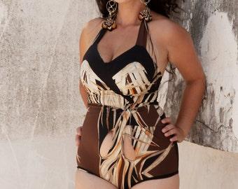 High Waisted Swimsuit, Halter Bikini, One PIece Swimsuit ,Retro Swimsuit, Custom Made to Measure ,High waist Bikini
