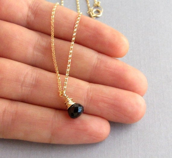 Black stone teardrop gold necklace 14k gold filled, gemstone jewelry.
