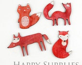 4Pcs Mini Handmade Red Fox Charms / Pendants (CW017)