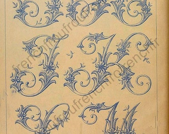 antique french victorian alphabet letters embroidery pattern illustration