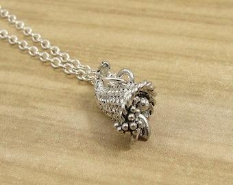Cornucopia Necklace, Silver Cornucopia Charm on a Silver Cable Chain