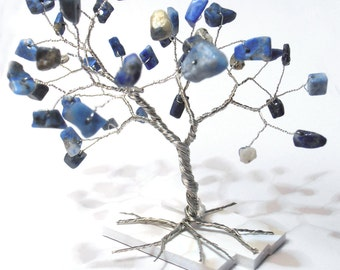 lapis lazuli blue gemstone wire tree sculpture whimsical home minimalistic decor blue silver wire wrapped tree art best friend gift under 25