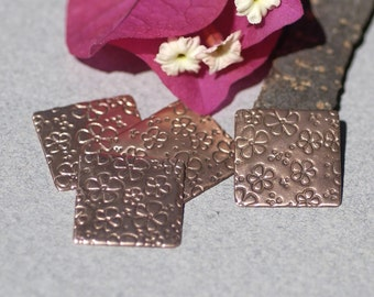 Copper Daisys Textured Rounded Blank Square Small 16mm for Enameling Stamping Texturing Blanks