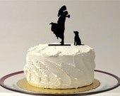 WITH DOG Wedding Cake Topper Silhouette Groom Lifting Up Bride Wedding Cake Topper Bride + Groom + Dog Pet Family of 3 Cake Topper