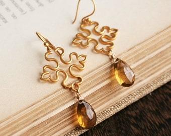Byzantine Earrings, Gold Earrings, Gemstone Jewelry, Statement Earrings