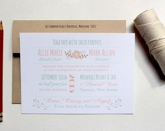 Wedding Invitations, Peach and Mint Wedding, Floral Invites, Mixed Font Invites - The Rustic Polka Dot Invitation