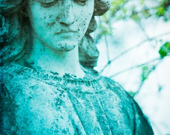 Fine Art Photography, Cemetery Statue, Angel Art, Religious, Ombre, Turquoise Decor, 8x12 Print, Condolence Art, Guardian Angel, Wall Art