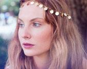 Gold Coin Chain Headpiece, Chain Headdress, Boho Chain Headpiece, Bohemian Headpiece, Hippie Hair Jewellery