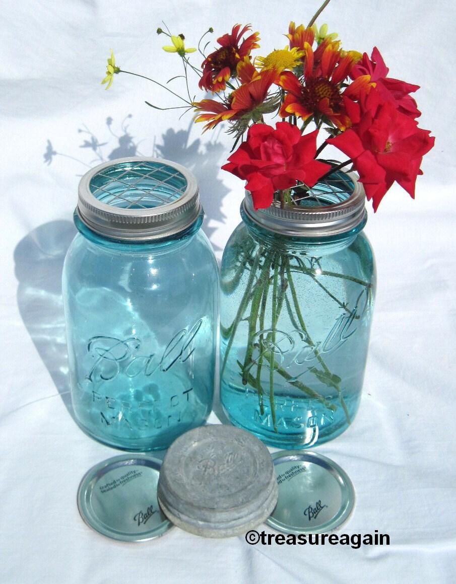 mason jar vase flower frog lid antique blue mason jars ball. Black Bedroom Furniture Sets. Home Design Ideas
