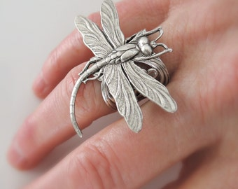 Silver Ring - Dragonfly Ring - Statement Ring - handmade jewelry