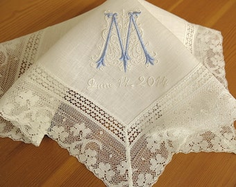 Wedding Handkerchief: Ivory Color Irish Linen Lace Handkerchief with Classic Zundt 1-Initial Monogram