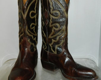 vintage cowgirl boots womens size 7 marked size 6 brown leather lizard