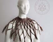 Leather capelet cut out dark brown sliced leather collar Avant garde fashion 3d design Boho leather fringe accessory Edgy fashion