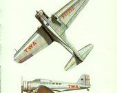 vintage print AIRPLANE WW 2 Aircraft TWA Delta bedroom decor plane airplane decor silver plane